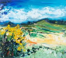Michael Flaherty (b.1950) Yellow Flag, Brandon Mountain Oil on board, 60 x 68cm (23½ x 26¾'') Signed Provenance: With Kilcock Art Gallery.