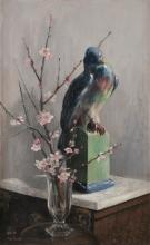 Mary Georgina Barton (1861-1949) Gilbert Hayes' Pigeon with Almond Blossom Oil on canvas, 78 x 47cm (30¾ x 18½'') Signed; also signed and inscribed on artist's label verso