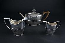 A MATCHED FOUR PIECE SILVER TEA SET, various