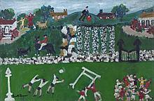 Gretta Bowen (1880-1981)Saturday in the Country (aka Sport's Day)Oil on board, 50.5 x 76cm (20 x 30'')SignedExhibited: 'Gretta Bowen' exhibition, The Tom Caldwell Gallery, 1980, Catalogue No.22, under title 'Sport's Day'; 'Gretta Bowen' exhibitio