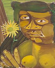 Michael Kane (b.1935)Woman with SunflowerOil on canvas, 56 x 45.75cm (22 x 18'')SignedExhibited: 'Christmas Exhibition', The Frederick Gallery December 1995, Cat. No.34, where purchased by current owner.
