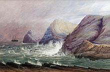 Andrew Nicholl RHA (1804-1886)Storm at Giant's CausewayWatercolour, 45 x 67cm (17½ x 26¼'')Signed and signed again
