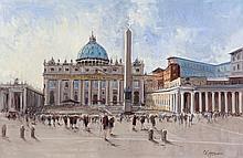 ***PLEASE NOTE TITLE SHOULD READ THE VATICAN, ST. PETER'S BASILICA***Patrick Copperwhite (b.1935)The Vatican, St. Peter's BasilicaOil on canvas, 61 x 91cm (24 x 35¾'')Signed