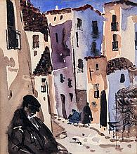 George Campbell RHA (1917-1979)Sleepy Malaga Street SceneWatercolour, 16 x 15cm (6¼ x 5¾'')Provenance: From the collection of the late Paddy Walsh, friend of the artist.