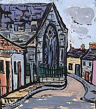 Evie Hone HRHA  (1894 - 1955)Irish Country Village with ChurchGouache, 36 x 32cm (14¼ x 12¾)Provenance: The Estate of Leo Smith, Dawson Gallery and thence by descent.