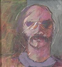 GENE LAMBERT (b.1952)Self PortraitOil on board, 29.5 x 27cmSigned and dated (19)'76