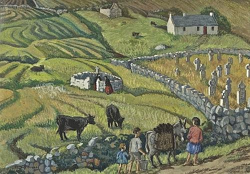 DOROTHY BLACKHAM RUA (1896-1975) The Foot of Slievemore (The Holy Well) Pastel and gouache