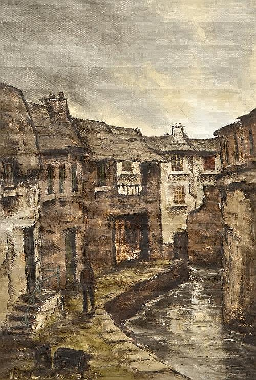 TOM CULLEN (1934 - 2001) Town Buildings with canal Oil on canvas