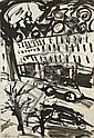 MICHAEL KANE (b.1935) Baggot Street Night Indian ink