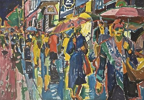 STEPHEN CULLEN (b.1959) Street Scene with Figures Oil on canvas