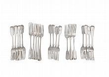 A COLLECTION OF 19TH CENTURY FIDDLE PATTERN SILVER TABLE FORKS, comprising an assortment of Irish and English examples, some crested, with various dates and maker's marks (c.1,461.8g). (21)