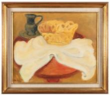 MAURICE SAVIN (FRENCH 1894- 1973)Still Life with Jug and Bowl Oil on Canvas, 46 x 55 cm Signed and dated 1963, lower leftProvenance: Galerie Drouant, 52 Rue Du Faubourg St. Honore, Paris (label on reverse) owner- Rev. S. Hanlon