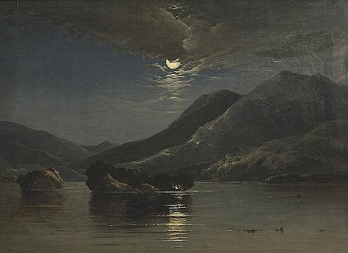 Patrick Vincent Duffy RHA (1836-1909) Moonlit Lake