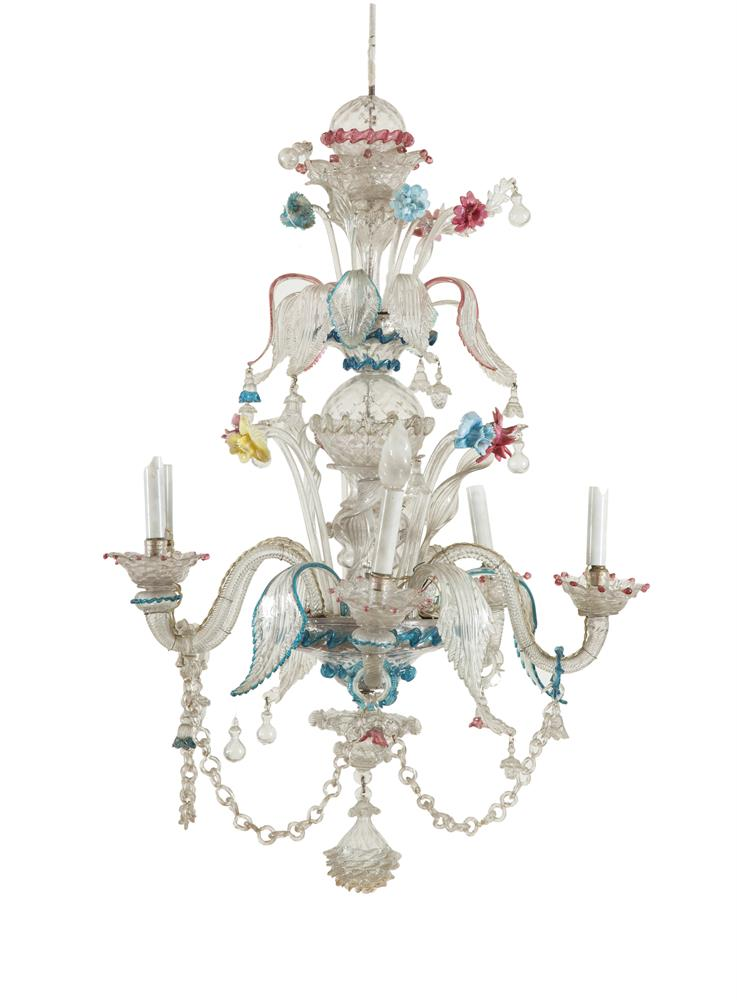 A venetian coloured glass five branch chandelier 19th centu - Chandelier a 5 branches ...