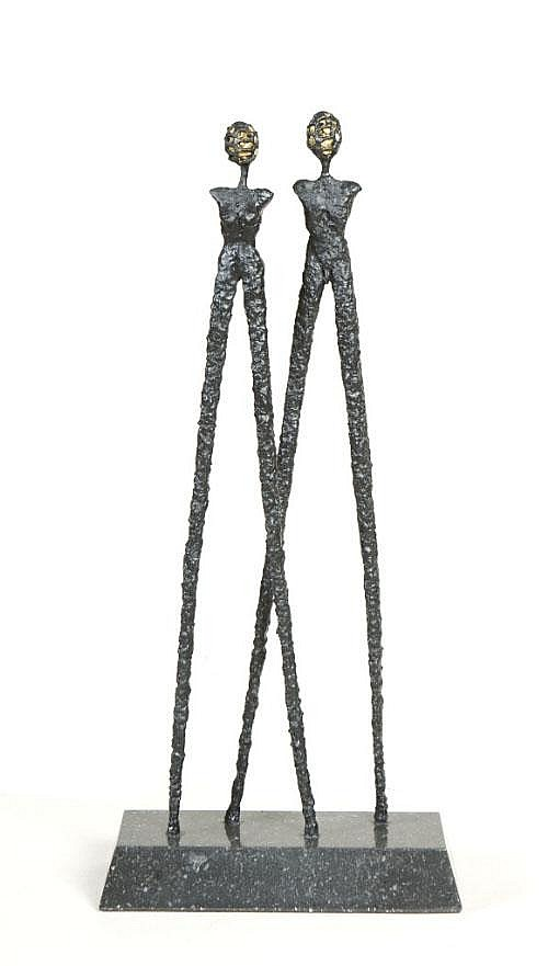 Orla de Bri (b.1965) Two Figures Bronze, 58 cm