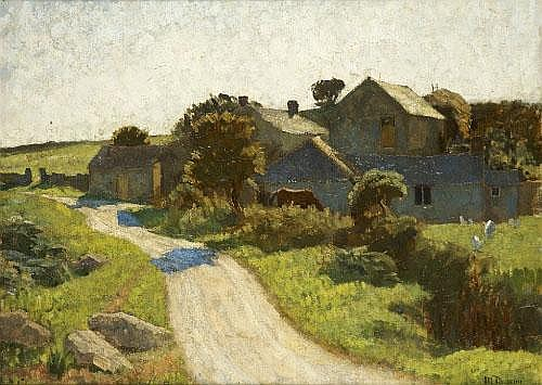 Mary Duncan (1885-1964) Country Cottage with Horse