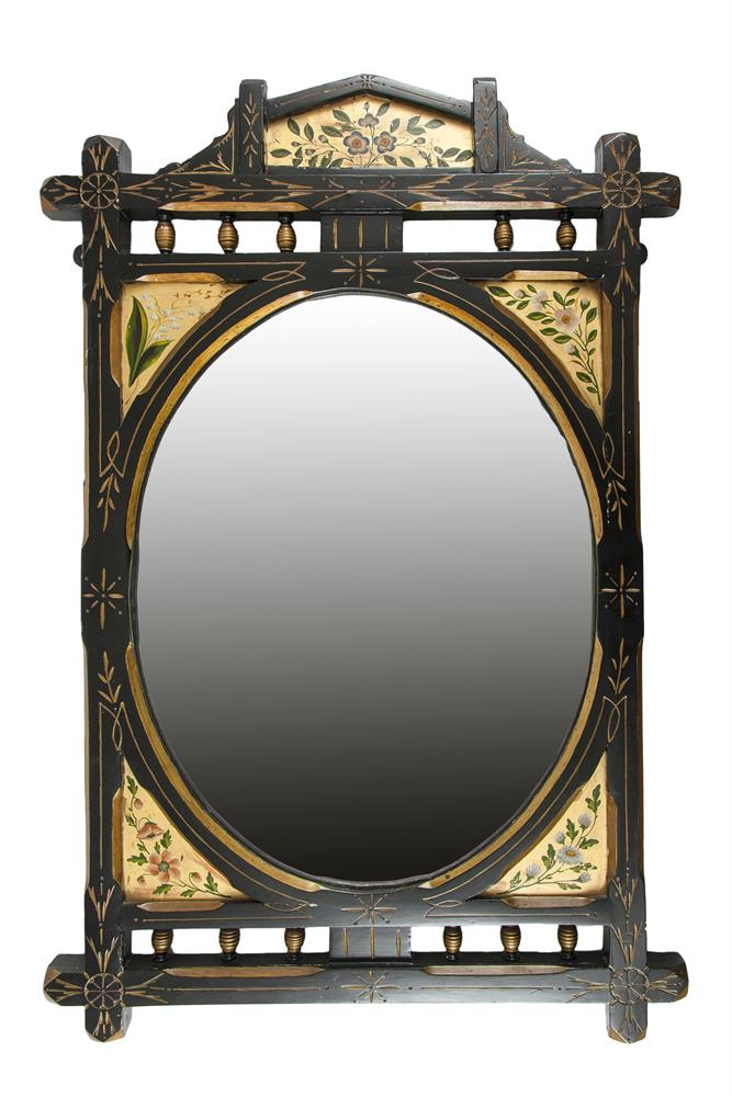A pair of aesthetic period ebonised and gilt decorated wall for Mirror 60cm wide