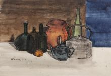 Michael Kane (b.1935)Still Life with Bottles and KettlePen, ink and watercolour 25.5 x 36.5cm (10 x 14¼)Signed and dated 17.12.65Provenance: With the Rubicon Gallery, Dublin.