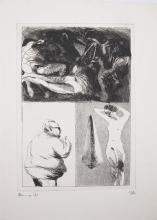 Michael Kane (b.1935)Landscape and FiguresAquatint, 38.5 x 28cmSigned, dated (19)'71 and numbered 13/45;together with two other 1971 Graphic Studio aquatints by Alice Hanratty, 'Rhinoceros Swallowing a Lady'; and Jack Coughlin 'Eagle'. (3)