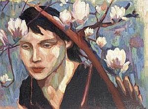 Mia Funk (20th/ 21st Century) Girl With Magnolias