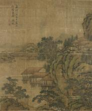 CHINESE SCHOOL, SIGNATURE OF WEN ZHENGMING 文徵明 (1470-1559) Mountains and river landscape with stilt houses and daoist scholars Ink and colours on silk Inscribed with a calligraphy and two seals on the upper left Signature of Wen Zhengming 文徵明