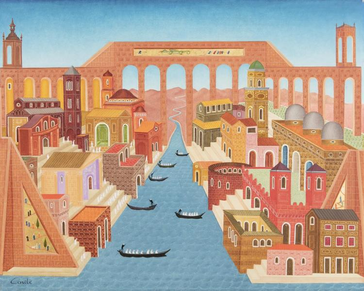 Philip Castle (20th Century)Italian Townscape with ViaductOil on canvas, 60.5 x 73.5cm (20 x 29'')Signed