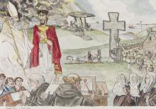 Angela Antrim (1911-1984)Saint Patrick (1979)Watercolour, 46 x 65cm (18 x 25½'')Signed and dated 11th April 1979Exhibited: 'UTV Collection', Down County Museum, March / April 1999