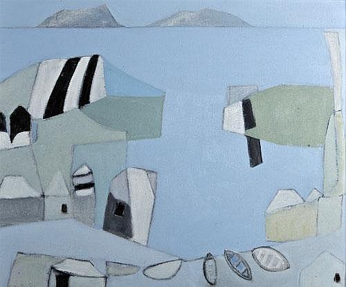 Padraig MacMiadhachain (b.1929) Black Roofs and