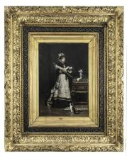 VICTOR GILBERT (1847-1933)Lady with parasol, with cat by feetOil on canvas, 39 x 26.5cmSigned and dated 1893