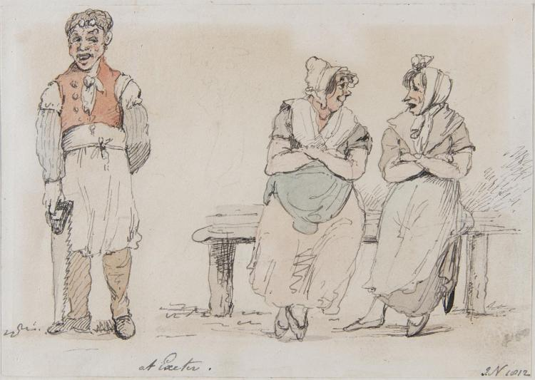 JOHN NIXON (1760-1818)At ExeterGouache, 11 x 16cm (4¼ x 6¼)Signed with initials and dated (18)'12