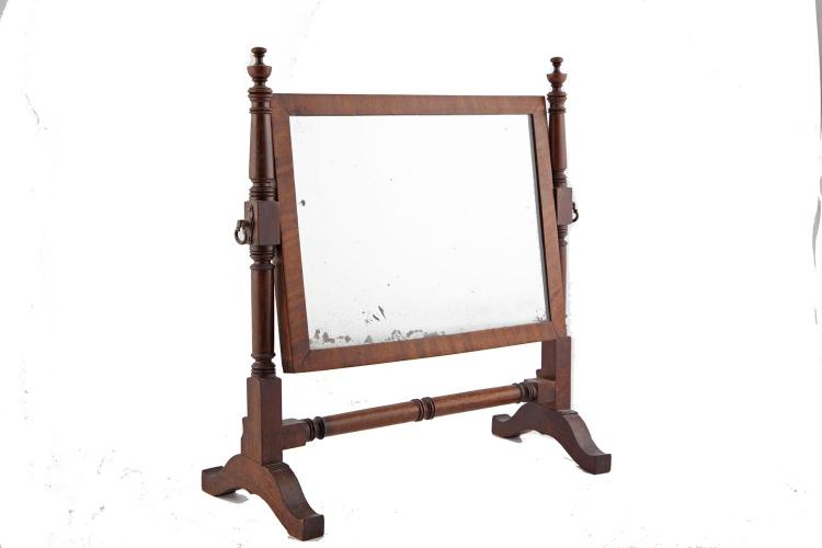 An early 19th century mahogany crutch frame rectangular toil for Mirror 40cm wide