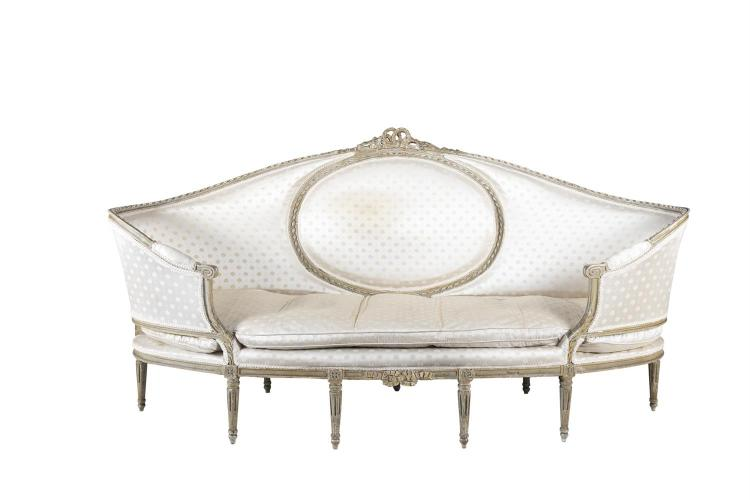 a large louis seize style shaped oval sofa the painted timb. Black Bedroom Furniture Sets. Home Design Ideas