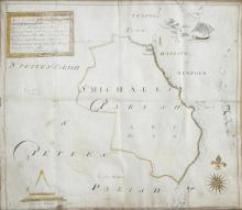 WALLINGHAM BELTON (18TH CENTURY)A hand drawn surveyor's chart of St. Michael's Parish, Wexford detailing the boundaries and vicinity of the land, hand coloured with scale comparison and text panel, At the request of the gentlemen of barony of forth