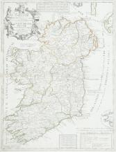 JEAN BAPTISTE NOLIN (1657-1725)Le Royaume D'Irlande.  State without Coronelli attribution.  460 x 605.  Abl 33.