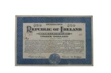 A REPUBLICAN BOND CERTIFICATE, Thirty Dollars, issued Second External Loan on November 15th 1921 by De Valera, President of the Elected Government of the Republic of Ireland, to Patrick Aylward, No. 421 with De Valera's engraved signature in Irish, e