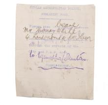 1916 DUBLIN METRO POLICE PERMANENT PASS, part mimeograph, issued to Mr. Thomas White of 4 Londonbridge Rd., allowing him to pass through the streets of the city and D.M.P. area, signed with Commissioner's hand.