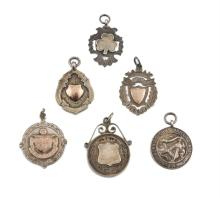 MEDALLIONS, a  collection of six silver medallions,  1920s and 30s, sporting and similar, including medal of Working Girls Drilling Association, Dublin, dated  1928, a football medal with engraved inscription ?MFA  Jun Challenge Cup 1935?, Cork  manu