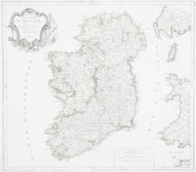 ***DIDIER ROBERT DE VAUGONDY (1723-1786)A Map of IrelandFrom the 1793 edition of the Atlas Universelle.  555 x 495.