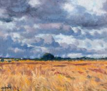 Maurice MacGonigal PRHA (1900-1979)Storm clouds, Mulhuddert, Co. DublinOil on board, 60 x 70cmSigned and dated 1974Provenance: With Dawson Gallery, label verso