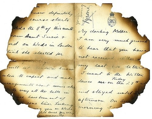 DAMAGED BY FIRE An autograph signed letter,
