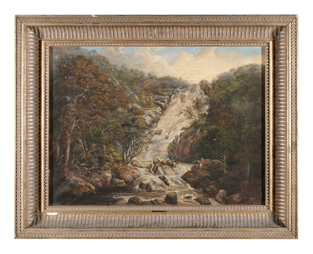 19TH CENTURY Waterfall Scene Oil on canvas, 44 x 81cm
