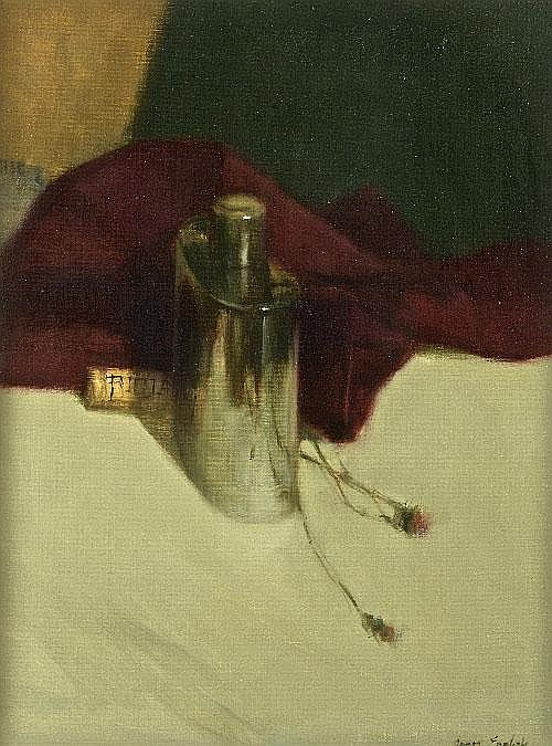 JAMES ENGLISH RHA (B.1946) Flask with Rioja Cork