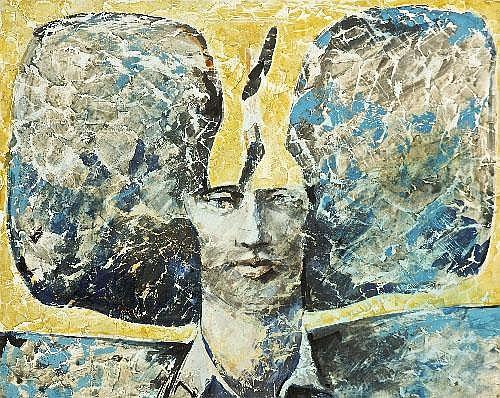 CHARLES HARPER RHA (B.1943) Head Oil on paper, 45