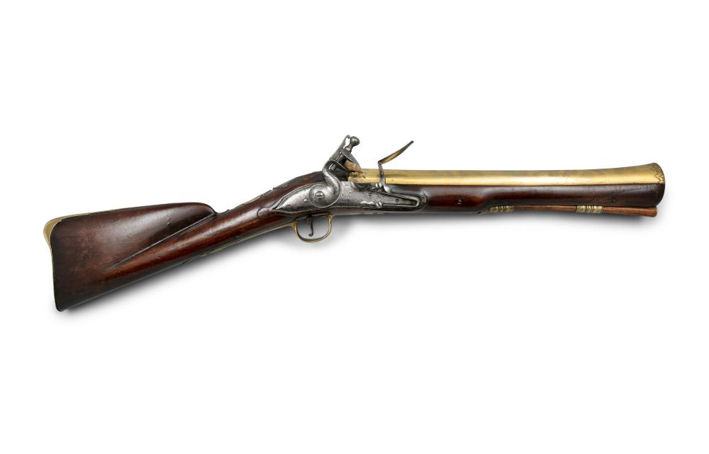 *AN IRISH FLINTLOCK BLUNDERBUSS, by James Wilson Dublin, c.1710, the barrel struck with Irish Police registration number (2) K-S1359, for King's County (Offaly) Provenance: Formerly Collection of W. Keith Neal * Lot imported under Temporary Ad