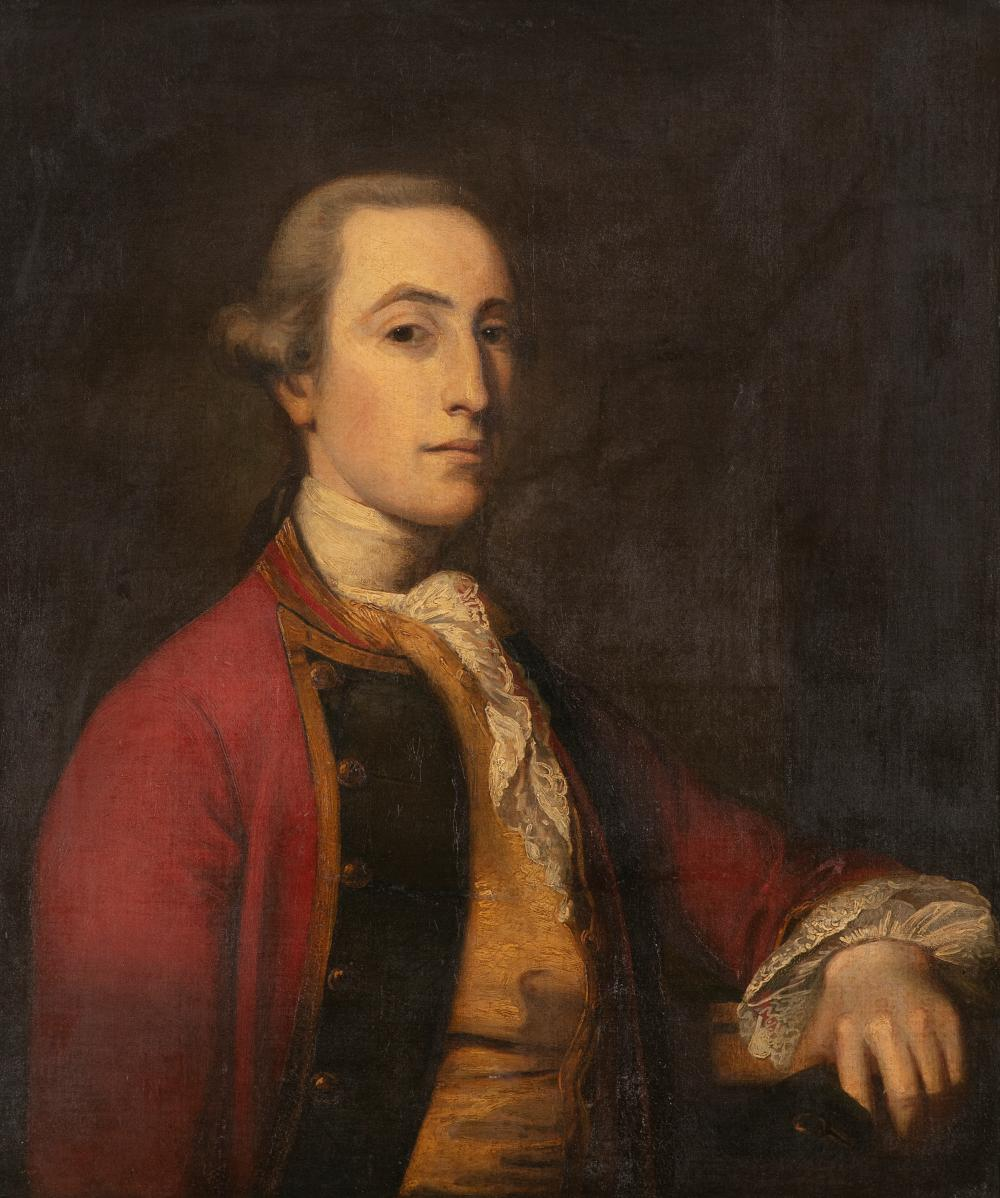 19TH CENTURY SCHOOL Portrait of a gentleman in a red coat, half length Oil on canvas, 77 x 64cm