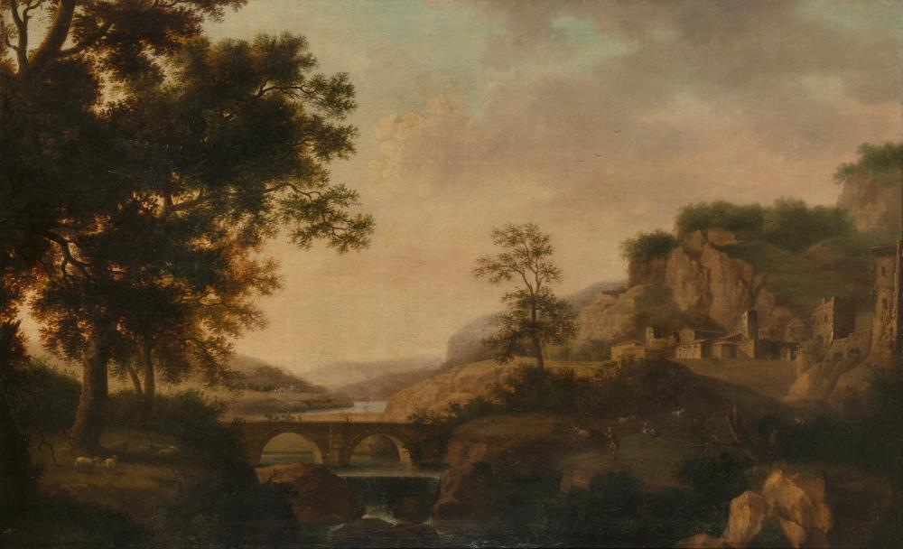 18TH CENTURY SCHOOL Classical Landscape with a Drover and Cattle near a Village below a Rocky Outcrop, Figures Crossing a Bridge Beyond Oil on canvas, 76 x 122cm