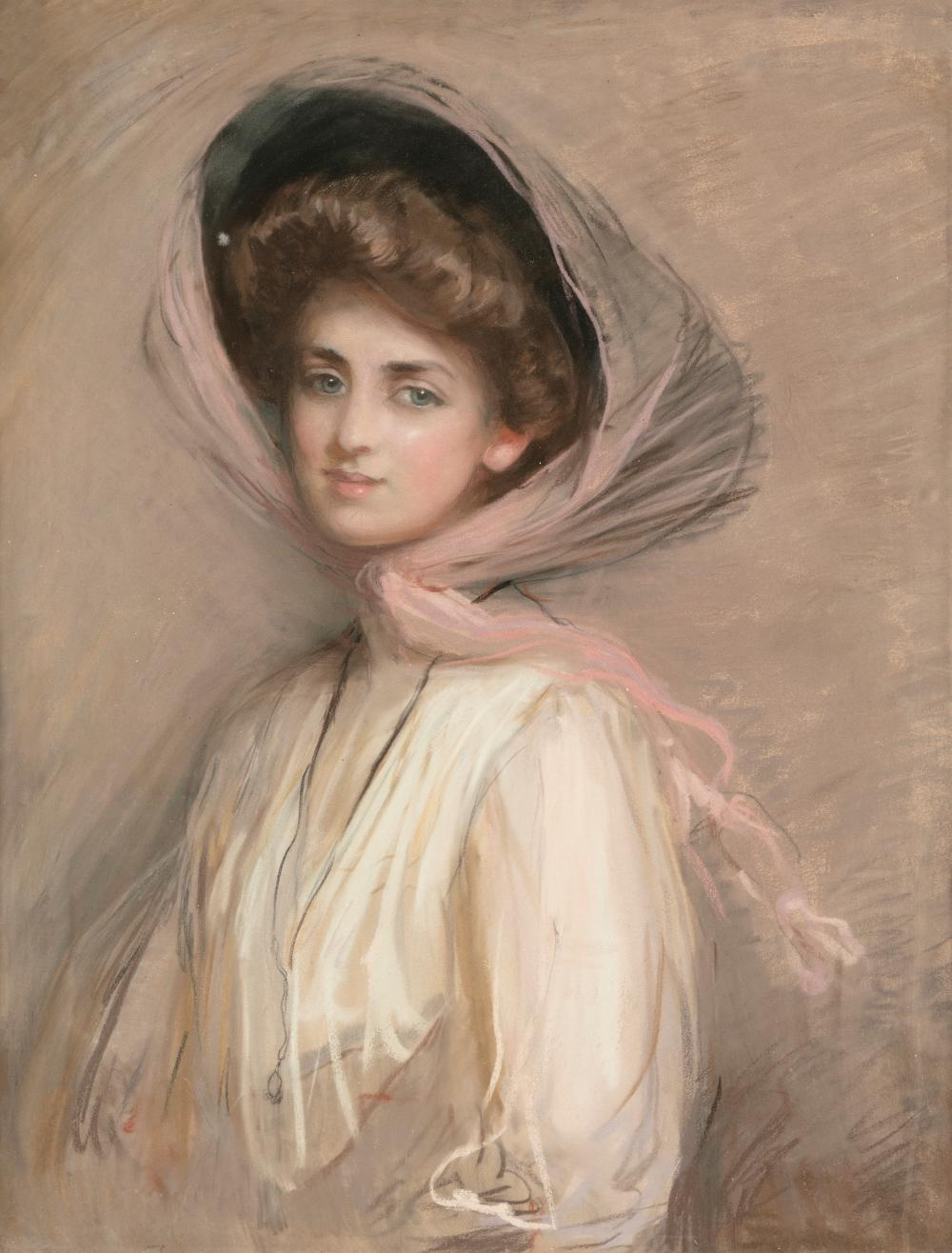 ATTRIBUTED TO PAUL CESAR HELLEU (FRENCH, 1859 - 1927) Half Length Portrait of a Lady wearing a Hat Pastel, 79 x 62.2.cm