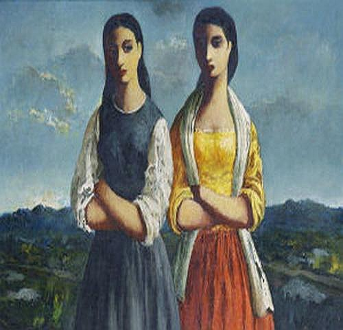 Daniel O'Neill (1920-1974) Sisters Oil on board,