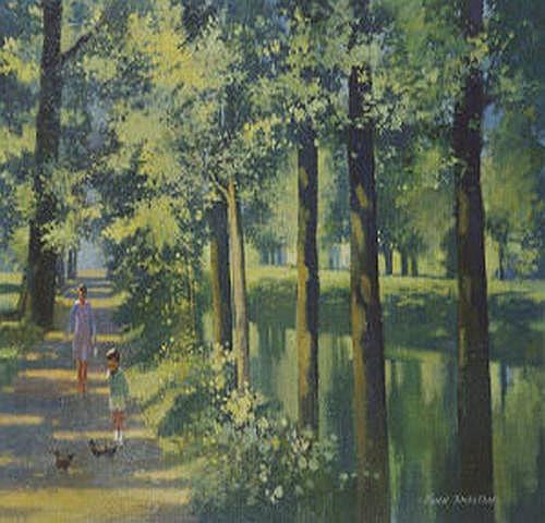 John Skelton (b.1924) Canal, Summer, Mespil Road,
