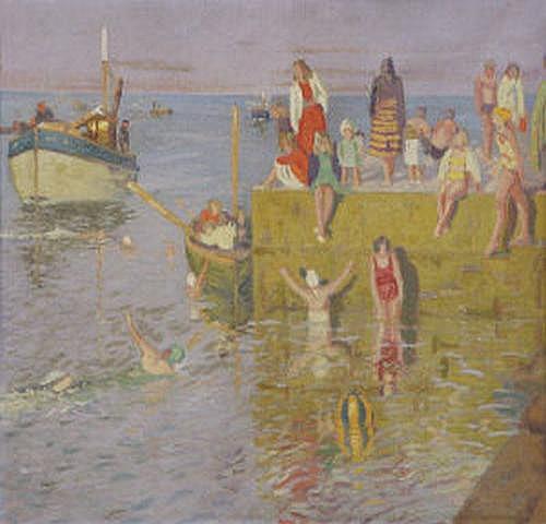 Patrick Leonard HRHA (1918-2005) Swimming Off The